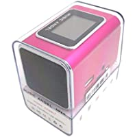 Music Angel portátil altavoz JH-MD05X caliente altavoz estéreo, soporte de tarjeta TF / USB flash disk, radio FM + pantalla LCD + batería fuera -- Rosa