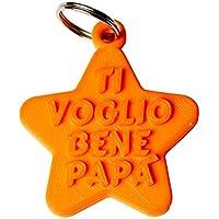 """Portachiavi Stella """"Ti voglio bene Papà"""" in stampa 3D - Idea regalo, festa del papà"""