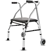 SMZJ SczlSyl Los ancianos Puede ser doblado Walker Con asiento Rueda de cinturón Muletas de cuatro pies