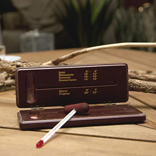 Lantelme Weinthermometer Holzetui mahagoni lackiert Wein Schnaps Cognac Sekt Thermometer Analog Holz Box 2742