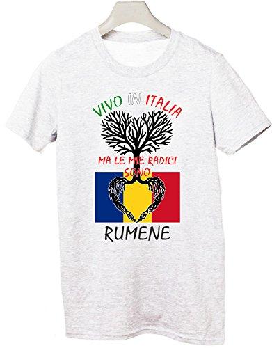 Tshirt Vivo in Italia ma le mie radici sono rumene- Italy - Romania - humor - idea regalo - in cotone Bianco