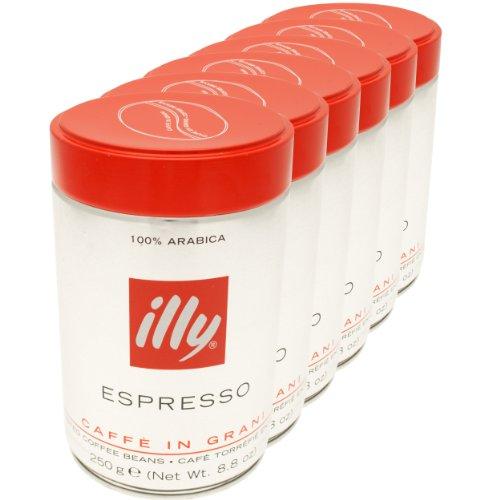 illy-espresso-100-caf-arabica-en-grains-torrfaction-moyenne-bote-lot-de-6-6-x-250g