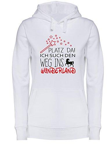 Platz da - Ich such den weg ins Wunderland Einhorn - Damen Hoodie Weiss/Schwarz-rot