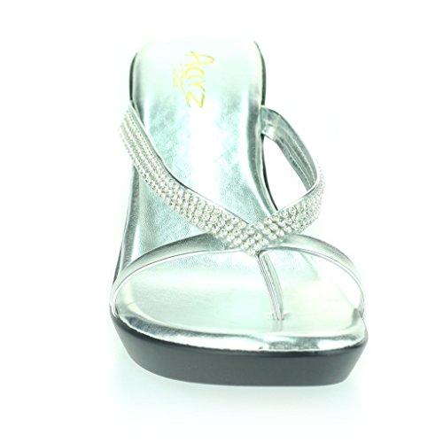 Femmes Dames Diamante Toe Bar enfiler Talon Compensé Quotidien Casual Confort Fête Sandales Chaussures Taille Argent