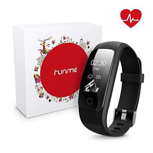 Runme Fitness Armbänder mit Herzfrequenz - Fitness Tracker mit Schrittzähler Bluetooth Fitness Watch mit Schlafüberwachung, Smart Watch mit Anruf/SMS für iOS/Android Smartphone