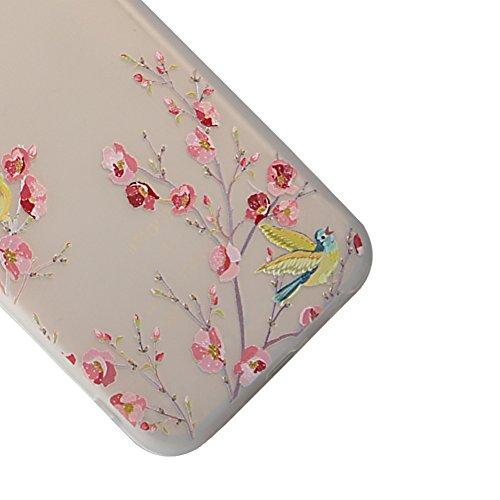Matte Case pour iPhone 7 Plus 5.5 Pouces, Vandot Soft TPU Silicone Mat Étui Housse Élégant Motif Fleur de Pêche Coque Peach blossom Pattern Matte Case pour iPhone 7 Plus Pare-Chocs Complète Absorption Fleur de pêche-Rose
