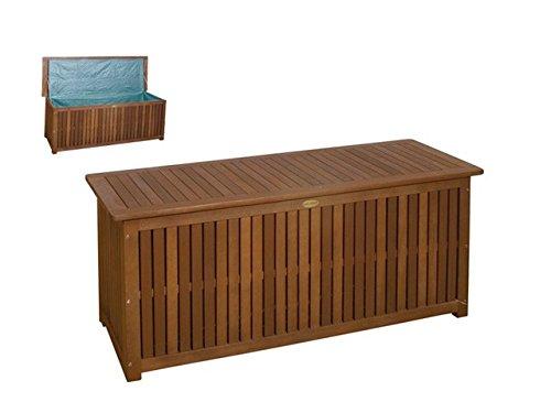 Massive Auflagenbox Holz mit Innentasche Kissenbox Gartenbox Hartholz