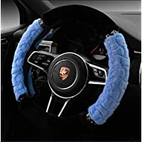 "Tianrui Crown Velvet Steering Wheel Cover Winter Warm Plush Fluffy Wheel Protector Universal 38cm / 15"" M Size (Blue)"