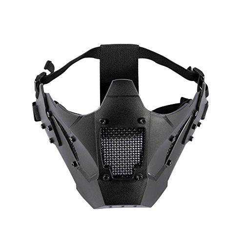 OneTigris Taktische Half Gesichtsschutz Maske Fast Helm Maske (Schwarz)|MEHRWEG Verpackung