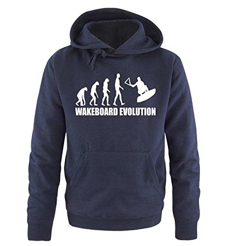 Comedy Shirts WAKEBOARD EVOLUTION -Herren Hoodie in Navy/Weiss Gr. S