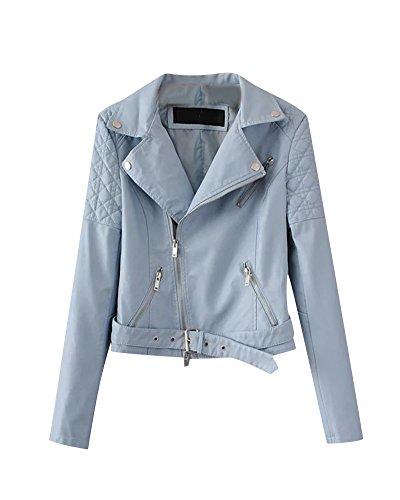 Donna Pu Cuoio Giacca Maniche Lunghe Casual Sport Moto Cerniera Jacket Blu