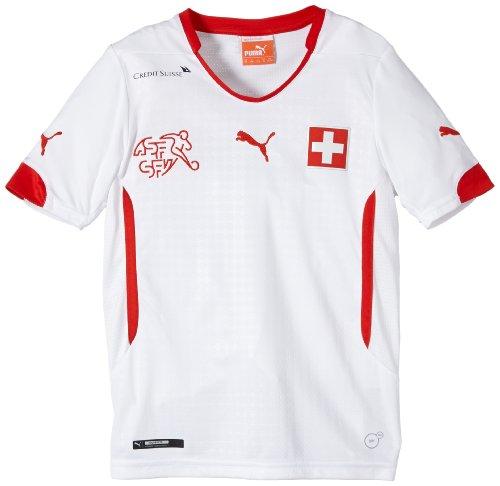 PUMA Kinder Trikot Suisse Kids Away Shirt Replica, White/Red, 164, 744382 02