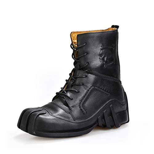 Botas Martin para Hombre Botas de Cuero Genuino Hechas a Mano y Uniformes a Prueba de Agua Skull Punk Botines de Moto Zapatos Steampunk Botas de Cuero (Tamaño Grande),Black,48