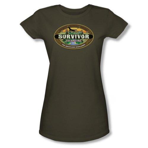 Cbs - Survivor / Tocantins Logo jungen Frauen T-Shirt in Military Grün, X-Large, Military Green