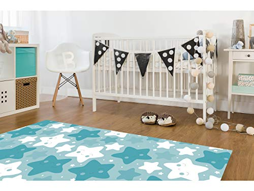 Alfombra Infantil Estrellitas Azules PVC | 95 cm x 200 cm |...