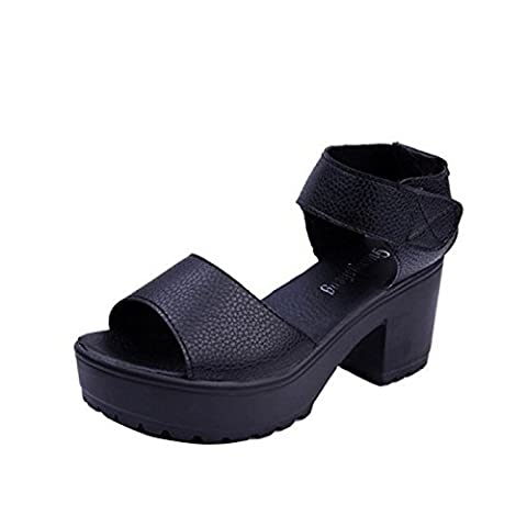 Women velcro chunky heels sandals peep toe ankle strap heels high platform creeper pump shoes