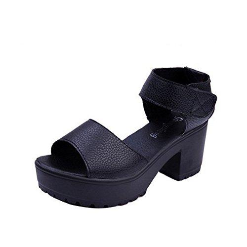 Gaorui Damen Knöchelriemchen Sandalen mit Plateau Blockabsatz Weiß Schwarz  Schwarz