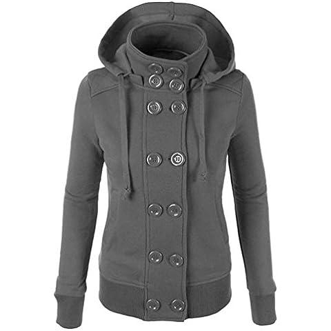 Sudadera Vovotrade Mujeres Double-breasted con capucha larga chaqueta de chaqueta delgada