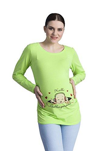 Hallo Lieblingsmensch - Schwanger witzige süße Umstandsmode T-Shirt mit Motiv Schwangerschaft, Langarm (Hellgrün, Small)