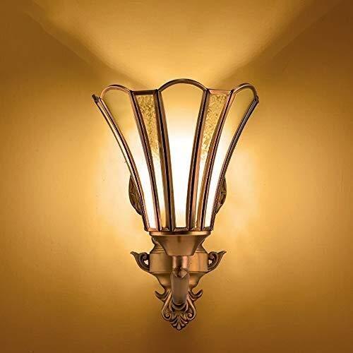 XYJGWBD Moderne Innenwandleuchte AC90-265V Wandleuchte 1-Leuchten Beleuchtung Glas Laterne for Schlafzimmer Wohnzimmer Lesen E27 Edison Messing Wandleuchte Dekoration Leuchte -