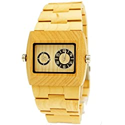 26Pure Time® Designer Men's Watch with Dual Timer in Maple Wood Watch Box