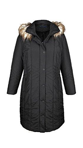 MS VASSA Damen Warmer Parka Lang Wintermantel mit Abnehmbarer Kapuze 6XL Black (Down Mäntel Womens Plus Size)
