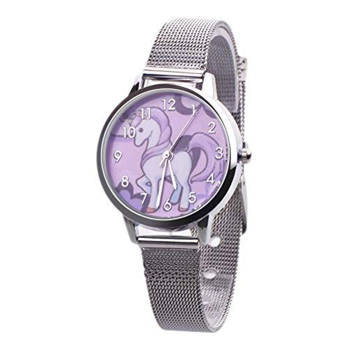 Unicornio Relojes Niños Reloj Chica Reloj Niños Pulsera Reloj Horse Pony Animal Alloy Pulsera Chica Reloj (Silver)