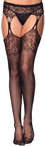 Leg Avenue Damen Netz Strumpfhose mit Blütenspitze und Strumpfgürtel schwarz Einheitsgröße ca. 36 bis 40