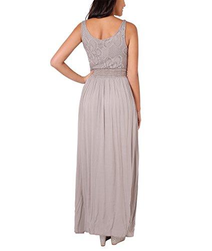 KRISP® Damen Elegante Maxi Kleider Bodenlange Festkleider Mokka (7091)