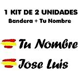 Pegatina Vinilo Bandera España + tu Nombre - Bici, Casco, Pala De Padel, Monopatín, Coche, Moto, etc. Kit de Dos Vinilos (Neg