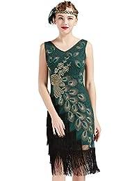 Coucoland 1920s Kleid Damen Pfau Flapper Charleston Kleid V Ausschnitt Great Gatsby Motto Party Damen Fasching Kostüm Kleid