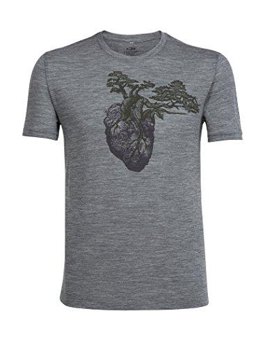 Icebreaker Herren Tech Lite SS Crewe Rock Heart T-Shirt, Gritstone Hthr, XXL