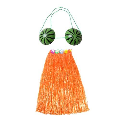BESTOYARD Hawaiian Tänzerin Gras Rock mit Wassermelone BH Set Tropical Elastic Grass Hula Rock Hawaiian Party Kostüm und Luau Outfit für Kinder 40cm