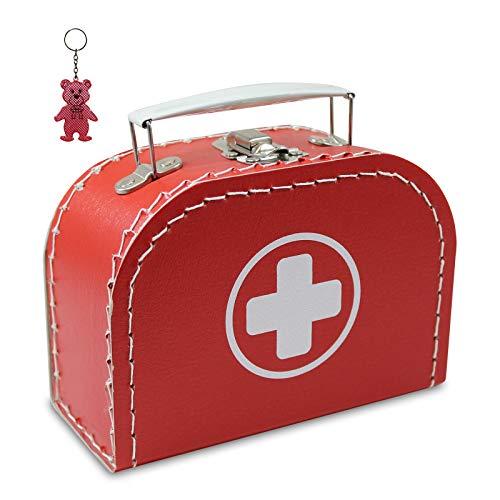 Arztkoffer Pappe rot mit weißem Kreuz 16 cm inkl. 1 Anhänger Reflektorbärchen, Kinderkoffer, Malkoffer, Spielzeugkoffer, Reisekoffer, Puppenkoffer, Pappkoffer, Doktor-Koffer
