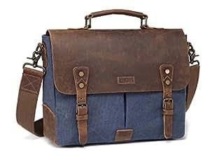 Vaschy Genuine Leather Messenger Bag, Casual Canvas 14 in Laptop Bag Unisex Satchel Shoulder Bag Bookbag with Detchable Strap