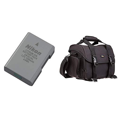Nikon Lithium-Ionen Akku VFB11402 & AmazonBasics - Große L Umhängetasche für SLR-Kamera und Zubehör, schwarz mit orange Innenausstattung (Nikon Lithium-batterie)