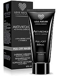 Love Nature Aktivkohle Peel-Off Maske mit hochkonzentrierter Hyaluronsäure | Blackhead Maske | Anti Mitesser Maske | Gesichtsmaske | Anti Aging Maske | Tiefenreinigend für eine gesunde und jung aussehende Haut