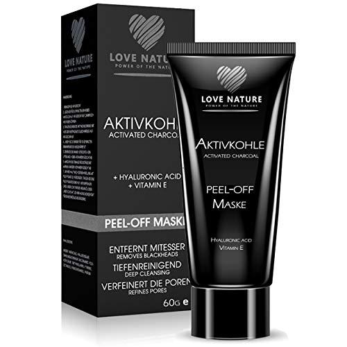 Love Nature Aktivkohle Peel-Off Maske mit hochkonzentrierter Hyaluronsäure|Blackhead Maske|Anti Mitesser Maske|Gesichtsmaske|Anti Aging Maske|Tiefenreinigend für junge, gesund aussehende Haut (60ml)