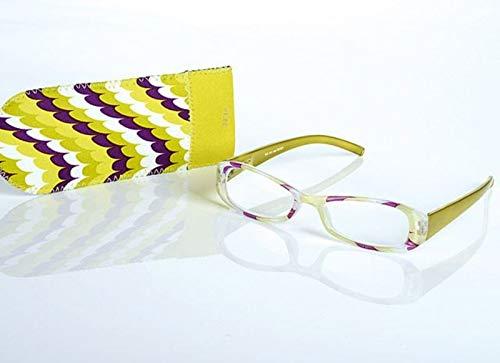 LOOK AND SEE Schicke Damen Lesebrille +2,5 gelb/bunt Flexbügel Fertigbrille