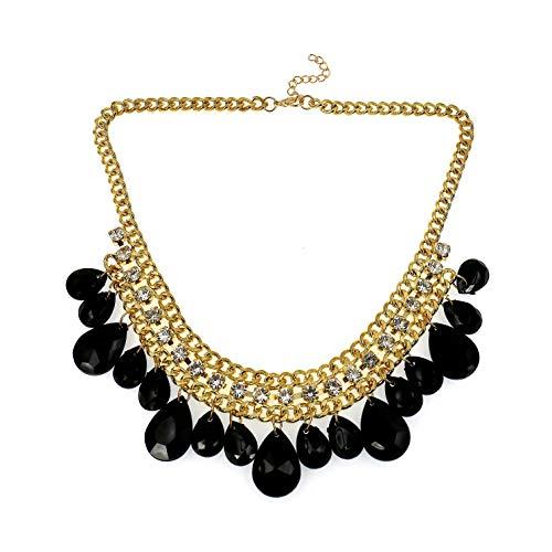Sammlung Stammes Kostüm - COMELYJEWEL Mode Schmuck Mädchen Legierung Kristall Schwarz Perlen Erklärung Halskette für Frauen