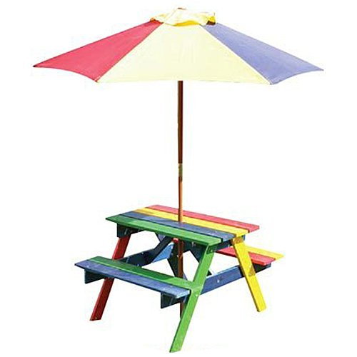 BRAND NEW KIDS WOODEN GARDEN PICNIC TABLE BENCH FURNITURE SET - Picnic table parasol
