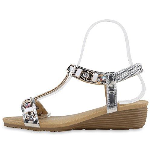 Damen Sandaletten Keilabsatz Strass Blumen Keilsandaletten Wedges Silber Silber