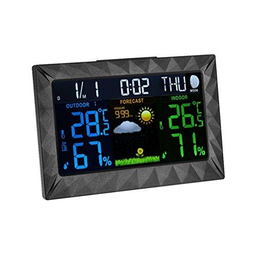 BESTONZON Digitale Hygrometer Thermometer Temperatur Luftfeuchtigkeit Monitor mit Touchscreen und Uhr für Innen und Außen