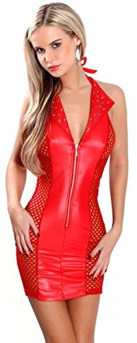 Miss Noir Damen MiniKleid im Wetlook Clubwear Partykleid Mesh-Einsätze V-Ausschnitt Lederlook (L/40) L118D-RD - Latex Damen Mini