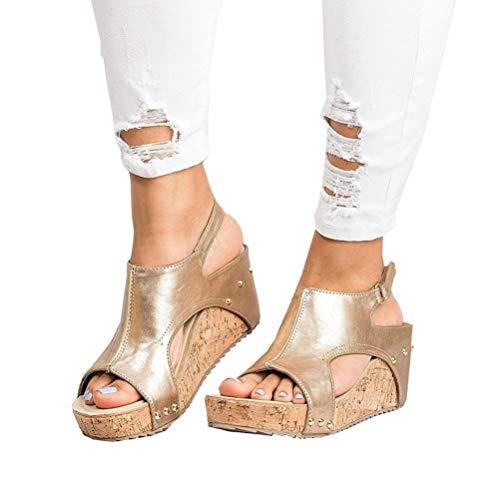 Damen Sandalen Keilabsatz Sommerschuhe Plateau Wedge Schuhe Knöchel Schnalle Peep Toe Elegant High Heels Schwarz Beige Braun Gold Gr.34-43 GD37