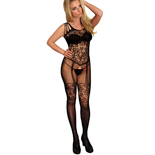 Sexy Damen-Body, Blumenmotiv, Netzgewebe, offener Schritt, schwarz, Ganzkörper-Strumpfhose, Einheitsgröße, 34/36 / 38/40