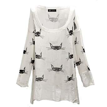 Femme Pull Chat Poncho T-shirts Veste Tops Hauts Manche Longue maille