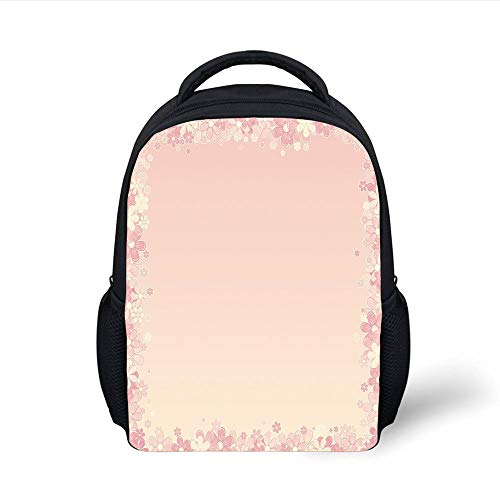Kids School Backpack Light Pink,Floral Wreath Frame with Bunch of Flower Beauty Fragrance Feminine Girls Decorative,Peach Light Yellow Plain Bookbag Travel Daypack