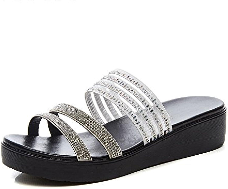 LHA Sandalias Summer New Fashion Slipper Wear Cuñas Sandalias Gruesos Zapatos de Diamantes de Imitación Zapatos...
