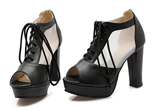 476c30d5ee71ce YE Elegant Damen Blockabsatz Peep Toe High Heels Plateau Pumps mit  Schnürung 10cm Absatz Schuhe Schwarz